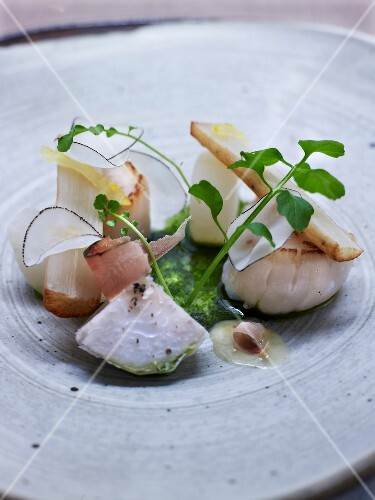 Roasted scallops with old-fashioned vegetables and daikon juice