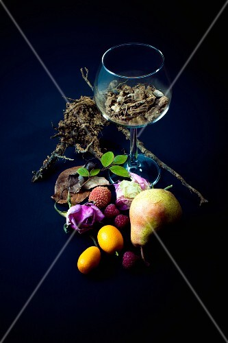 Composition with fruit,rosebuds,roots and earth
