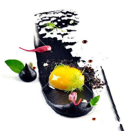 Egg with squid and squid ink paste