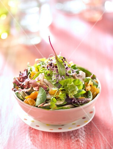 Sweet and salty button mushroom,dried apricot and raisin salad