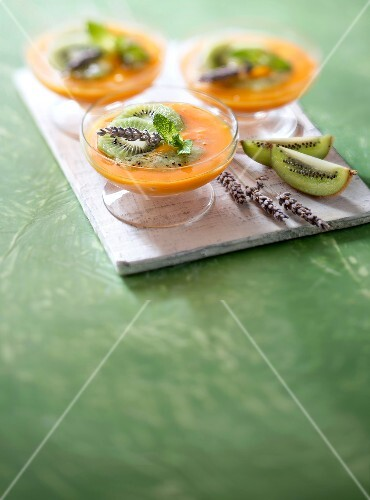 Apricot and kiwi soup with lavander honey