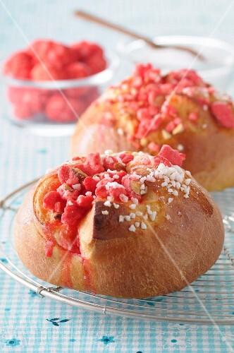 Pink praline brioche buns