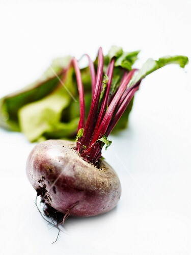 Raw beetroot on a white background