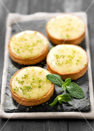 Lime curd and mint tartlets