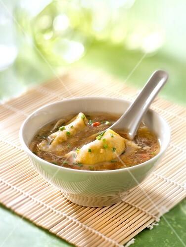 Asian ravioli soup