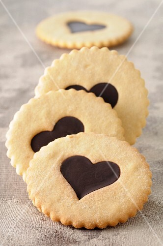 Chocolate heart shortbread cookies