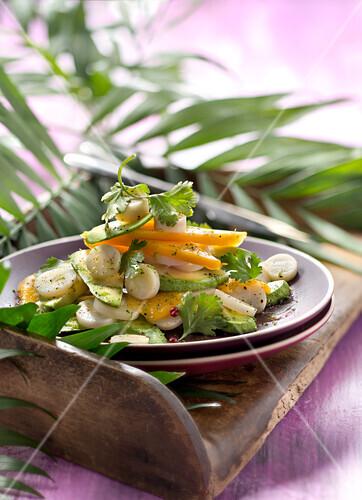 Salada de abacate com mel :avocado,palm heart,mango and honey salad