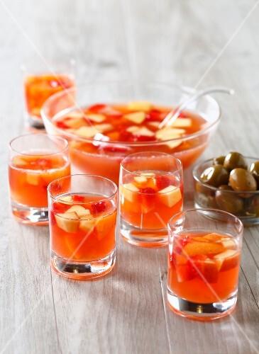 Rosé wine,strawberry,apricot and peach sangria
