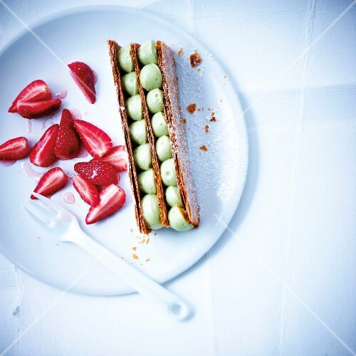Green tea mousse Mille-feuille with strawberries