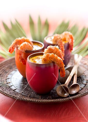 Camarao na moranga,cream of pumpkin soup with shrimps and coconut