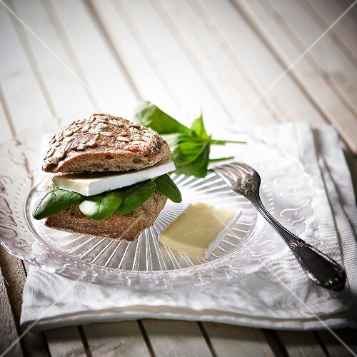 Brie and spinach granary bread sandwich