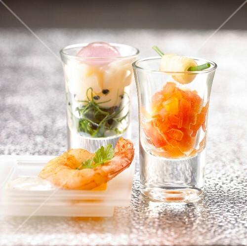 Two seafood Verrines