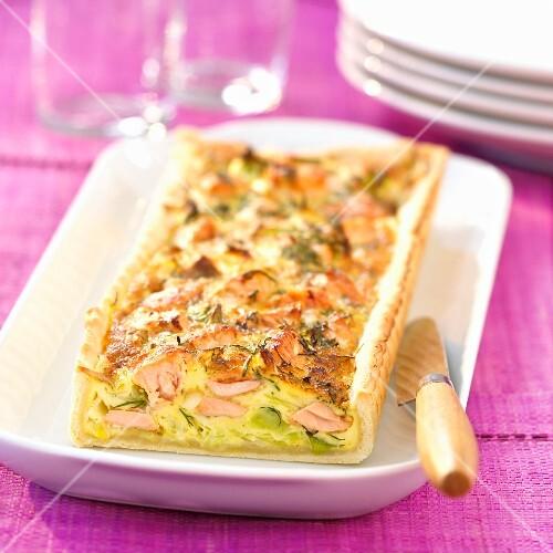 Salmon and dill savoury tart