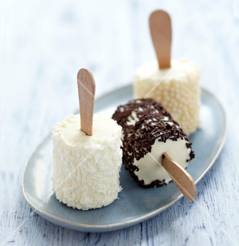 Coconut,chocolate sprinkles and sugar pearl Fromage frais iced bars