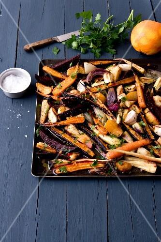 Roasted vegetables with orange zests