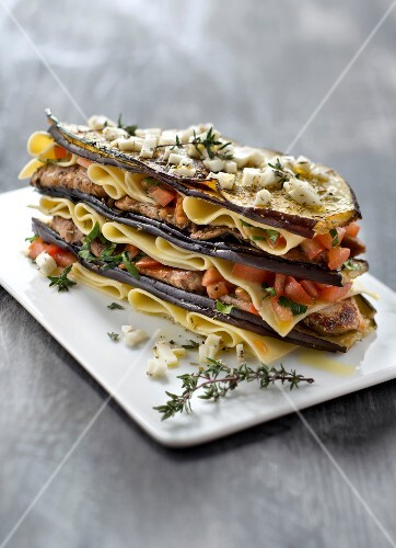 Lasagnes,eggplant,mozzarella and lamb Mille-feuille