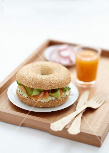 Cream cheese and smoked salmon bagel sandwich
