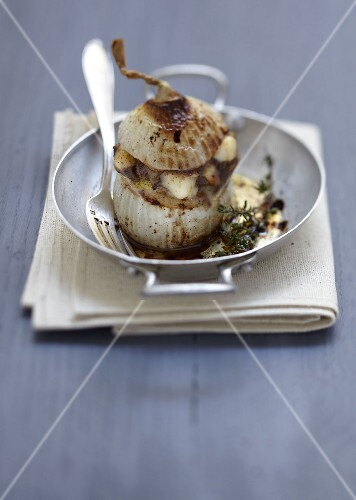 Onion stuffed with meat,anchovies and Tomme des Grands Causses