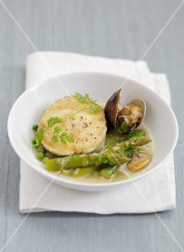 Hake with littleneck clams and green asparagus tops