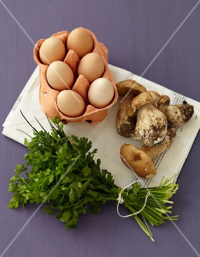 Ingredients for egg and cep terrine