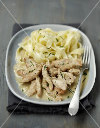 Turkey and tagliatelles in cider butter sauce