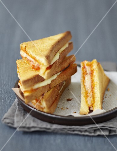 Mini cheese and ham toasted sandwiches