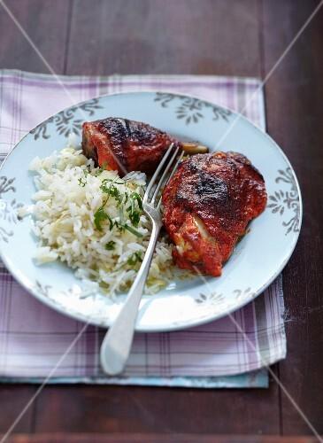 Tandoori chicken with white rice