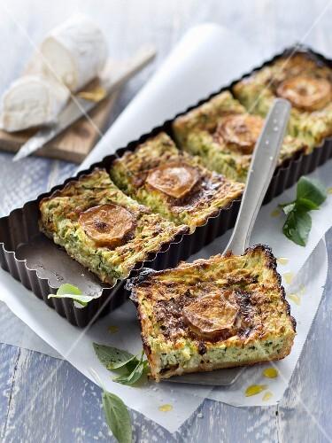 Zucchini-goat's cheese flaky pastry pie