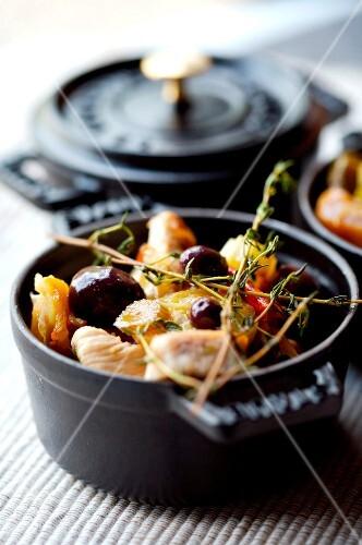 Sliced chicken,fennel and confit citrus casserole