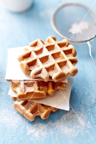 Belgium wafles coated with icing sugar