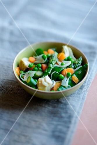 Mixed peas,carrots,asparagus and artichokes