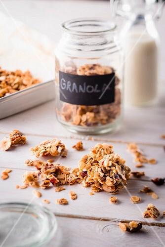 Jar of mixed granola