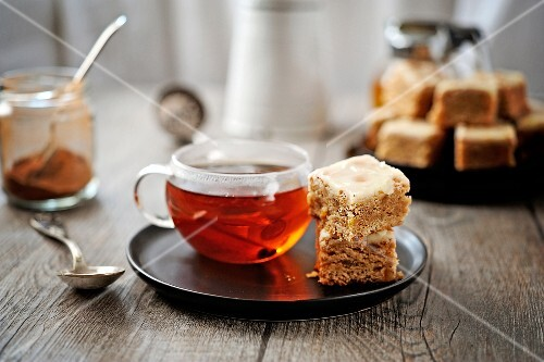 Spicy squares and a cup of tea
