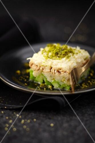 Celery, celeriac, green apple, chicken and pistachio Parmentier