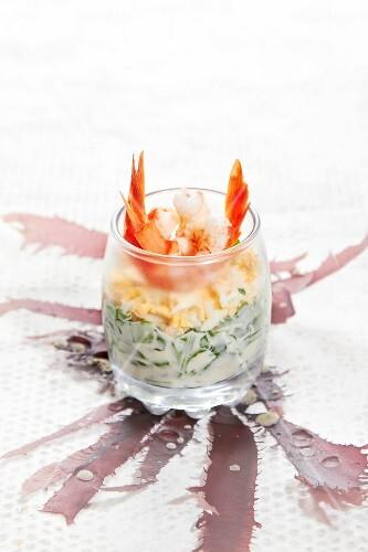 Lettuce,omelette and cream of shrimp starter
