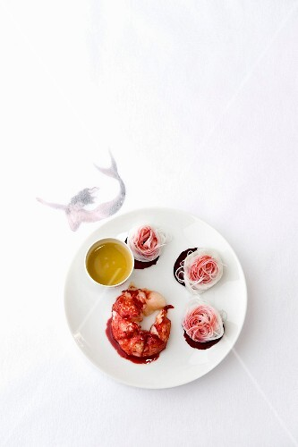 Lobster and angel hair pasta nests with raspberry puree