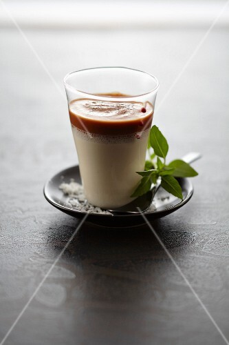 Asparagus panna cotta and pepper coulis
