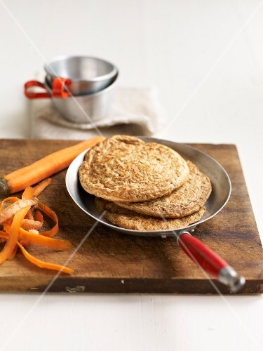 Oat flour and carrot pancakes