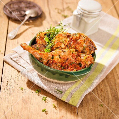 Garenne rabbit in tomato and herb sauce