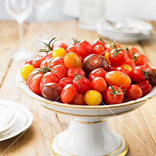 Variety of tomatoes on a presentation dish