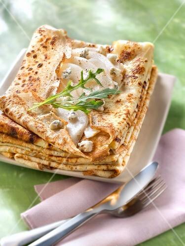 Pear and gorgonzola savoury pancakes