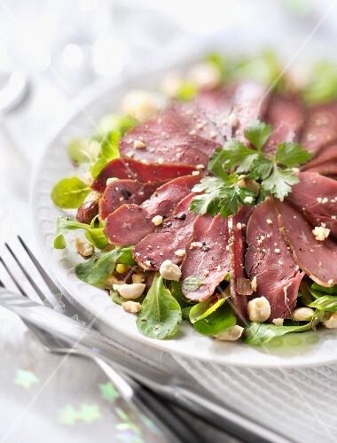 Duck magret,corn salad and grilled hazelnut salad