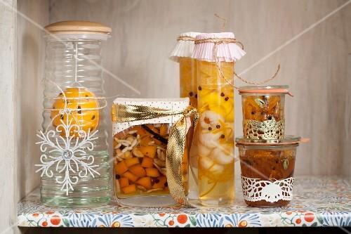Jars of preserves on a shelf