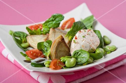 Broad bean,spinach,artichoke, cherry tomato and paprika mascarpone salad