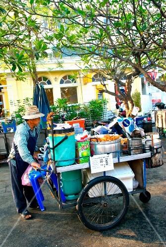Salesman trolley in the street