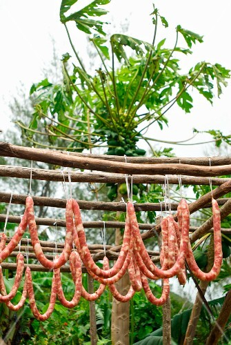 Drying Chinese sausages outdoors