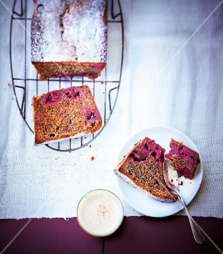 Walnut and blackberry cake