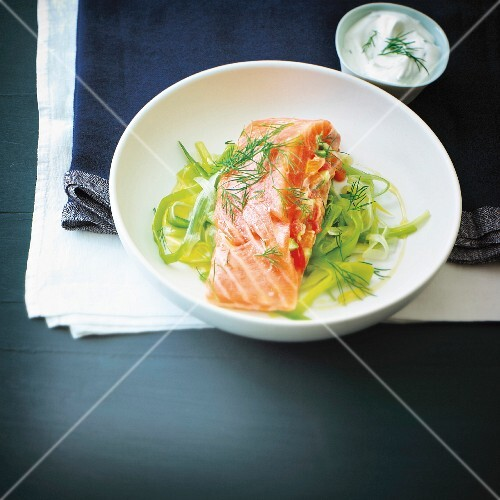 Salmon stuffed with simmered leeks and red peppers