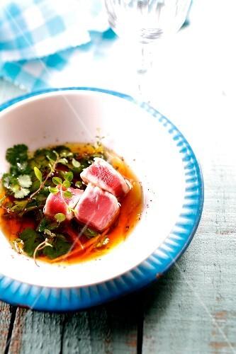 Tuna marinated in soya sauce with herbs
