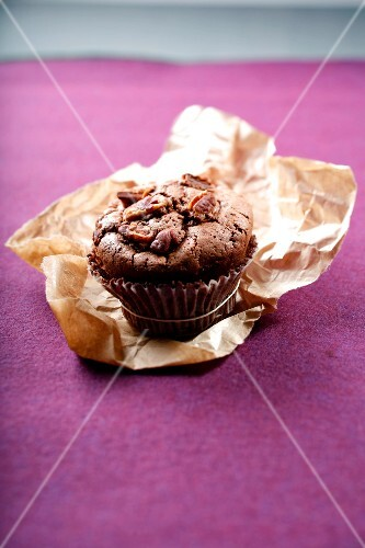 Chocolate and peacn muffin
